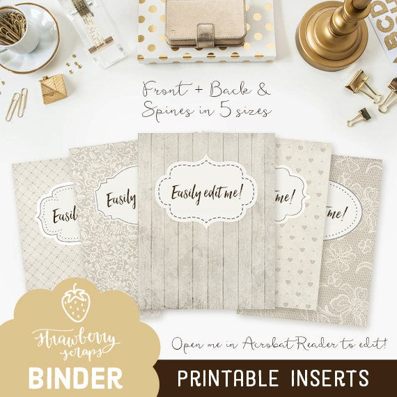 printable binder inserts rustic ivory 5x set etsy