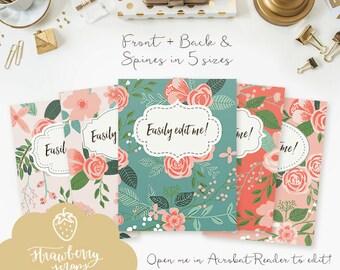 "Binder cover printable: ""CORAL FLOWERS"" 5x set Covers & Spines, Flower Binder insert, Floral binder, Teacher binder, School binder inserts"
