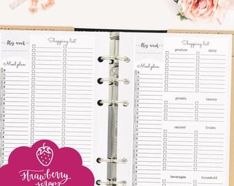 "Meal planner printable: ""WEEKLY MEAL PLAN"" Planner inserts personal, Weekly meal planner, Shopping list, Meal planning printable, Groceries"