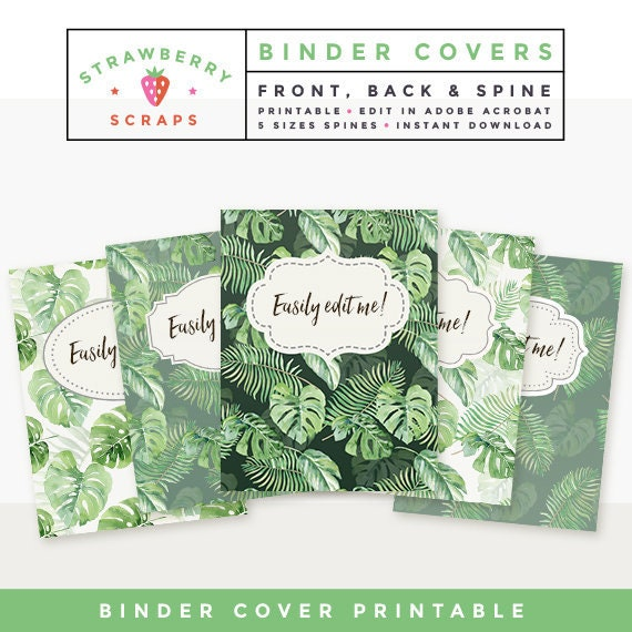 Binder Cover And Spine Printable: TROPICAL LEAVES