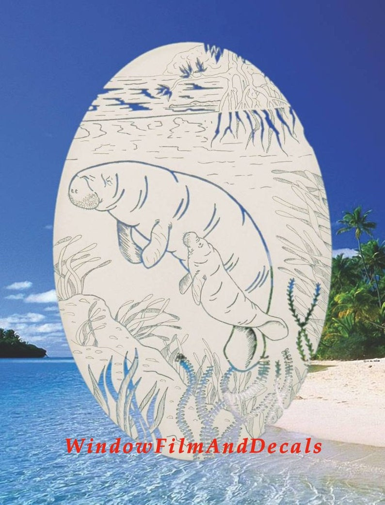 Manatee Scene Oval Static Cling Window Decal 21 x 33 White wClear Design