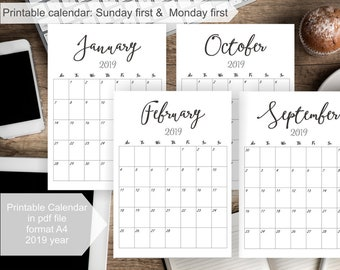 2018 2019 printable calendar 2018 2019 wall calendar editable calendar pages monthly desk calendar printable pdf 2018 calendar printable