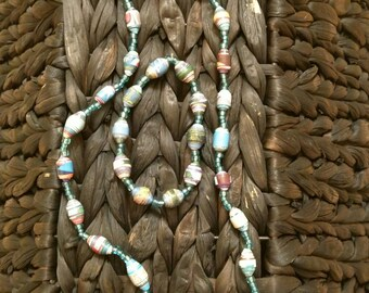 Handmade Beaded Necklace and Bracelet Set- Blue