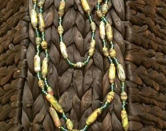 Handmade Beaded Necklace and Bracelet Set- Green