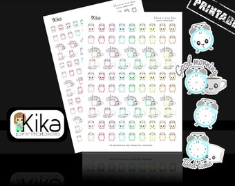 Printable stickers   Kawaii clock planner sticker   Wake up, bed time Stickers for Erin Condren, Filofax, KiKi K   Instant Download