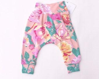 Hipster Boho clothes. Unisex soft green striped mint coloured harem pant for babytoddler girl boy Gift ideas children