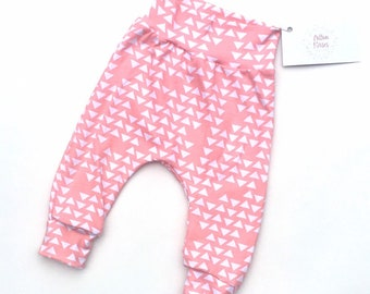 Pink harem pant baby toddler clothes comfy wear solid colour girlfloral Gift idea.