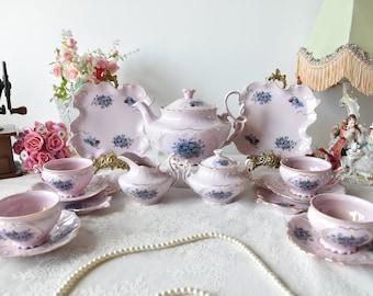 Tea set vintage porcelain Slav porcelain pink tea cup set HCH tea cups rose porcelain vintage tea set vintage teacup saucer