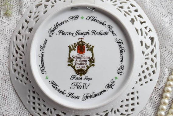 Vintage plate perfored porcelain hand painted plate Schumann Arzberg Bavaria Germany plate german openwork porcelain