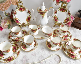 Royal Albert coffee set vintage floral coffee set Royal Albert Old Country Roses England coffee cup set english porcelain bone china cup