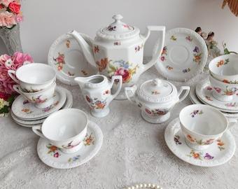 Tea set vintage floral tea set tea cup set german porcelain floral teacup set