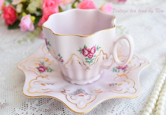 Vintage tea cup set floral porcelain Slavic porcelain pink set HCH tea cups rose porcelain vintage tea set teacup saucer