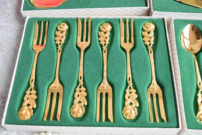 Vintage spoon set for six Teaspoons coffee spoons 14 pieces vintage gold plated teaspoons /'Hildesheimer Rose/'