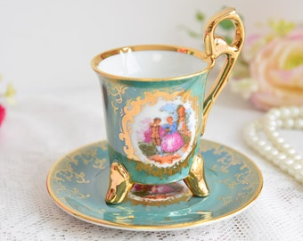 Demitasse, Cup and Saucer, Three Legs, mocha cup, espresso cup handmade on leg, Feet Cup,