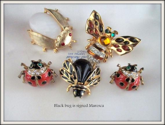 Lot Vintage Brooches Maresca Black Enamel Brooch B