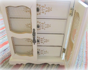 White Table 70s Jewelry Box Tall Music Wind up by Price Imports ROCKY Theme Son