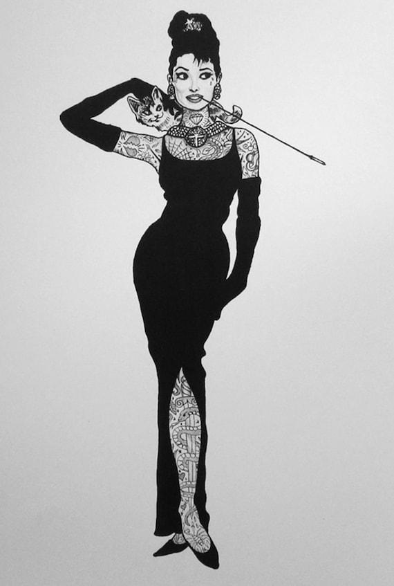 Tatuato Audrey Hepburn stampa  e6a379465ad2