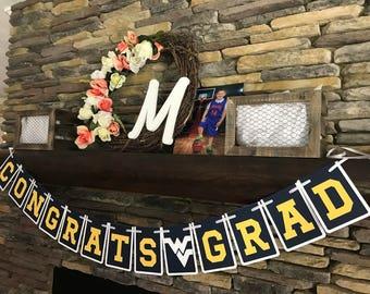 Congrats Grad WVU Bound Graduation Banner Morgantown WV Tailgate Party Dorm Room Decoration Grill Out Decor