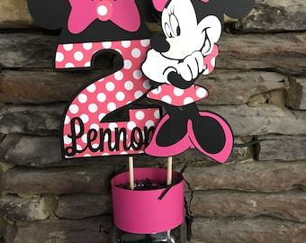 Minnie Mouse Centerpiece Birthday Party Decorations Mickey Decor Center Piece Happy First Second