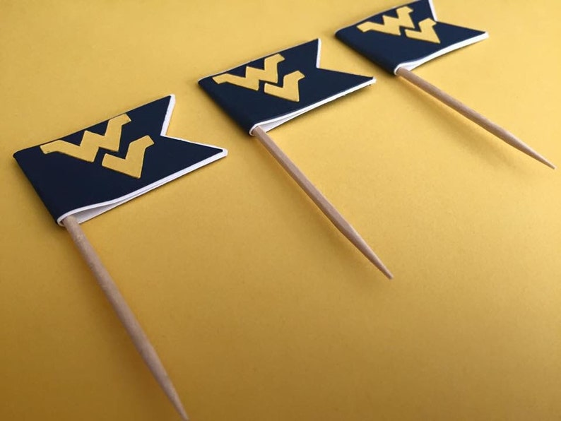 29c1e9512f WVU Cupcake Toppers West Virginia University Party Lets Go