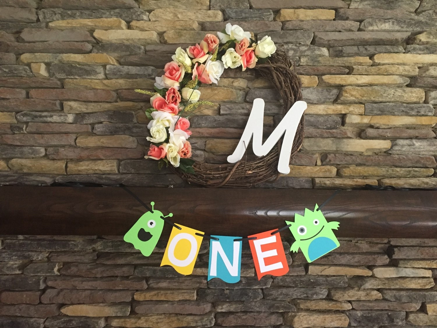 Little Monster Baby Shower Birthday Party Decorations Happy Birthday Banner  One High chair banner Monster bedding photo prop bedroom decor