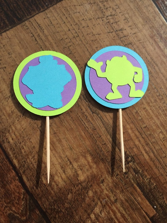Monsters Inc Cupcake Toppers Sullivan Mike Monsters Inc Decor Etsy