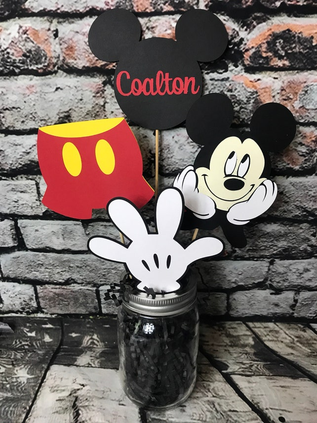 Mickey Mouse Centerpiece Birthday Party Decorations Decor Center Piece Happy First Second