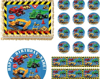 Design your own edible cake topper image do it yourself cake etsy construction vehicles edible cake topper construction trucks edible cake topper construction party supplies construction trucks cupcakes solutioingenieria Images