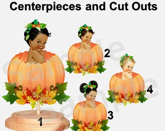 Pumpkin Patch Baby Girl Centerpieces with Stand OR Cut Outs, Baby Sitting in Pumpkin, Fall Baby Shower Pumpkin, Our Little Pumpkin Baby Girl