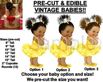 Other Baking Accessories Creative Pre-cut Pink And Silver Vintage Baby Girl Edible Cake Topper Image Afro Puffs
