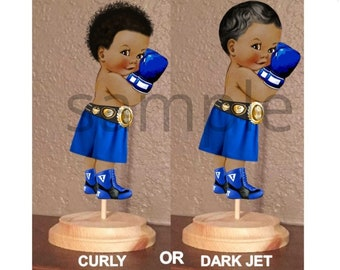 PRE CUT Royal Blue Little Boxer Prince Boxing Centerpiece with Wood Stand  OR Card Stock Cut Out  9a125273cf7