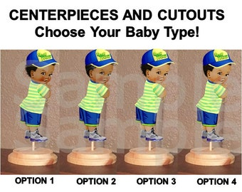 bf150c9919b26 Pre Cut Yellow Blue Little Fresh Prince Baby Boy Centerpiece with Wood  Stand OR Card Stock Cut Outs