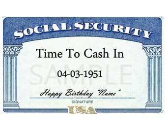 Social Security Card EDIBLE Image for Cakes Cupcakes, Retirement Cake, Time To Cash In, Social Security Cake, Over the Hill Social Security