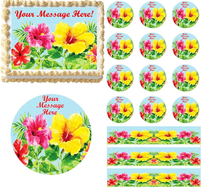 Heavenly Hibiscus Edible Cake Topper Image Hibiscus Tropical Etsy