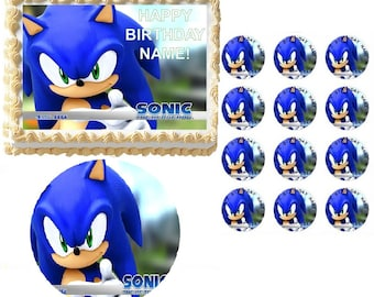 SONIC the HEDGEHOG Sonic Up Close Edible Cake Topper Image Frosting Sheet Cake Decoration Many Sizes!