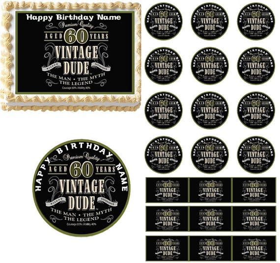 Vintage Dude 60th Milestone Edible Cake Topper Image