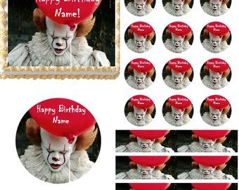 Creepy Scary Clown Edible Cake Topper Image, Clown Cake, Clown Cupcakes, Scary Clown Cake, Clown Party Supplies, Halloween Cake, Edible Cake