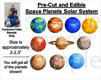 Space Solar System Planets Edible PRE CUT Decal Stickers   Planets Decals for Cake   Space Cake   Planets Cake   Planets Party Theme   Space