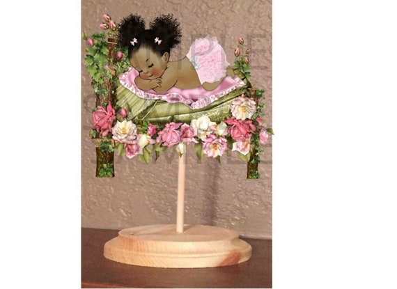 PRE CUT Lavender Purple and White Ruffle Pants Baby Centerpiece with Wood Stand OR Card Stock Cut Out Affordable Party Centerpiece Cutouts