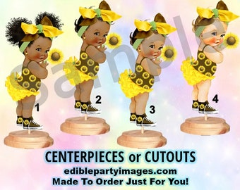 Sunshine Sunflower Baby Girl Centerpieces with Stand OR Cut Outs, Baby Shower Centerpiece, Sunflower Daisy Flower Baby Cutouts, Yellow Brown