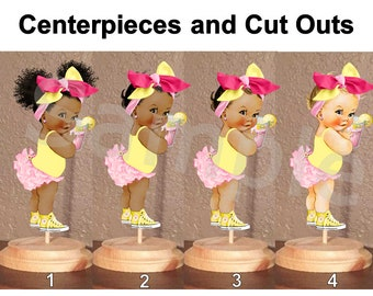 Pink Lemonade Baby Girl Centerpiece with Stand OR Cut Outs, Lemonade Theme Baby Shower, Hot Pink Yellow Head Bow Sneakers, Baby Centerpiece