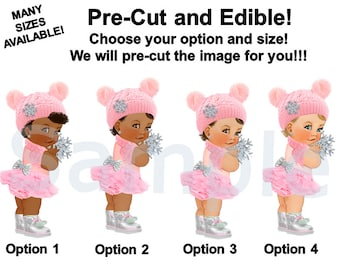 Winter Wonderland Baby Princess Girl EDIBLE Image for Cake or Cupcakes, Oh Baby It's Cold Outside Theme, Winter Baby Cake, Pink Silver Boots