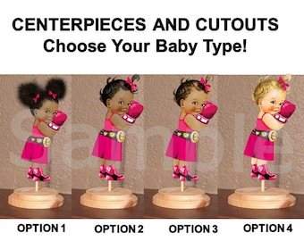 Pre Cut Hot Pink Gold Boxing Boxer Babies of Color Girls Centerpieces Wood Stand OR Cut Outs, Boxer Baby Girl Centerpieces, Boxer Shower