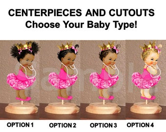Princess Ballerina Babies of Color Centerpiece on Stand OR Cut Outs, Pre Cut Princess Baby, Hot Pink Tutu Gold Crown, Baby Shower Cutouts