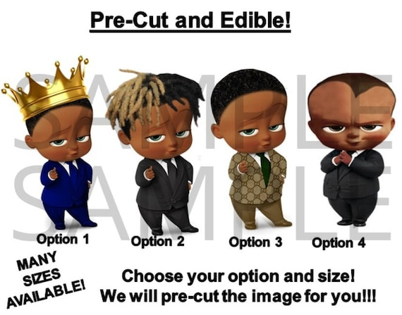 Pre Cut Dark Skin Royal Prince Afro Dreds Boss Baby Boy Edible Cake Topper Image Designer Boss Baby Boy Edible Afro Boss Baby Cupcakes