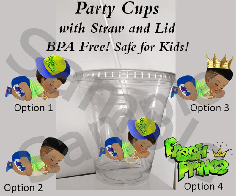 12oz Cup Baby Shower Cups Sleeping Fresh Baby Prince Boy Clear Plastic Cup w Straw and Lid BPA Free Baby Shower Fresh Cups Party Cups
