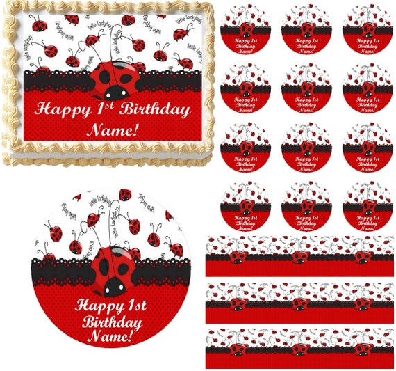 Outstanding Red And Black Little Ladybug 1St Birthday Edible Cake Topper Etsy Birthday Cards Printable Giouspongecafe Filternl