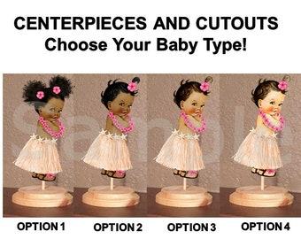 Pre Cut Hot Pink Peach Hawaiian Luau Grass Skirt Baby Girl Centerpiece with Wood Stand OR Cutouts Decorations, Hawaiian Baby Shower Cutouts