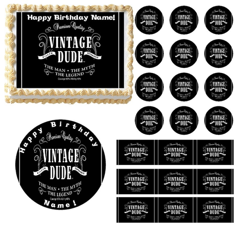 Vintage Dude Edible Cake Topper Image