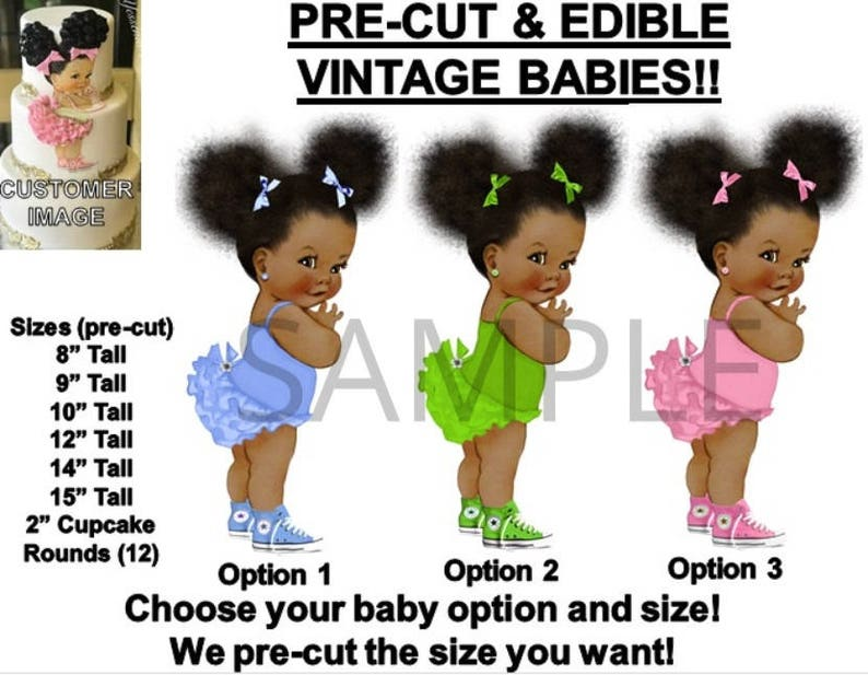 Baking Accs. & Cake Decorating Delicious Pre-cut Pink Lavender Ruffle Pants Afro Puffs Bun Baby Edible Cake Topper Image